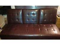 Brown faux leather sofa bed for sale