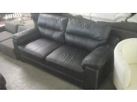 NEW Graded 2+3 Seater Black Leather Sofa Suite FREE LOCAL DELIVERY