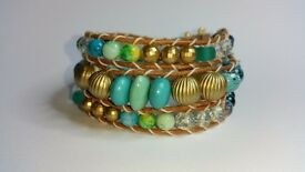 "New handmade triple wrap turquoise gold-tone bracelet natural leather. fits up to 6½"" wrist"