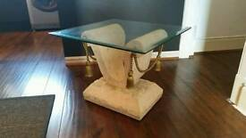 Marble effect Coffee Side Table Glass