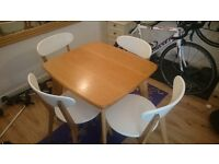 Oak Table with 4 Oak and White chairs (Fjord range from Made)