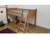 Childs space saving single bed with ladder & mattress, full-length guard rails along the top bunk.