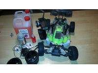 Ansmann Virus 2 RC nitro buggy rtr, glo starter & charger, fuel, new plugs, oils, road tyres.