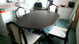 Bespoke extendable hardwood dining table and 4 chairs