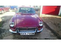MGB GT 1973, MANUAL, UK CAR, GENUINE CHROME BUMPER MODEL, MOT /TAX EXCEPT £3750 ono