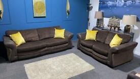 Beautiful brown fabric suite. 4 seater and 2 seater sofas