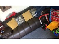 Brown leather 3 + 2 seater couch
