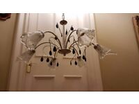 Monza Polished Chrome and Italian Hand Blown Glass Chandelier Ceiling Light