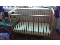 Babies'R us Cot with sprung mattress