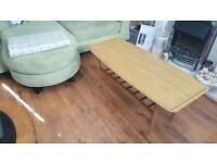 Vintage Retro Danish Inspired Ercol Style Long Coffee Table with Shelf