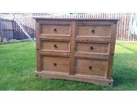 SOLID WOOD X 2 CHEST OF DRAWERS AND OTTOMAN