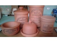 5 Pieces Suffolk/Henry Watson Terracotta Clay Pottery Kitchen Storage Items
