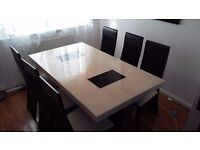 Family marble dining table with six chairs