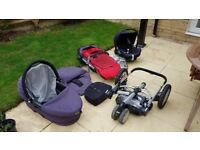 Maxi Cosi baby carrier + Isofix base + Quinny Buzz pushchair set and accessories
