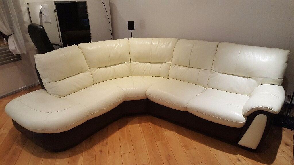 Cream Brown Leather Corner Sofa