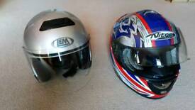 Motorcycle helmets and leather jackets