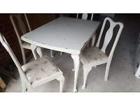 SOLD shabby chic extendable table and chairs