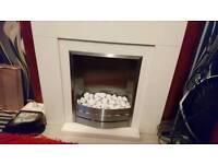 Off White/cream electric fire/surround