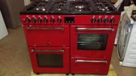 BELLING Kensington 100DFT Dual Fuel Range Cooker - Red & Chrome