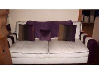 3 Sofa's For Sale Excellent Condition 2 leather cream/purple one fabric stone colour