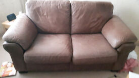 Leather Sofa dark brown in good condition £60 ono.
