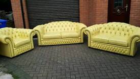 Chesterfield genuine leather 3 piece suite. IMMACULATE CONDITION THROUGHOUT! BARGAIN!