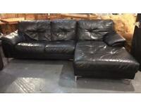Black leather corner sofa 8x5 ft