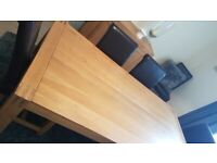 Solid Oak Dining Table and 8 Brown Leather Chairs