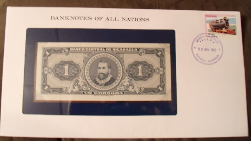 Banknotes of all Nations Nicaragua 1 Cordoba 1968 P-115 UNC Serie B