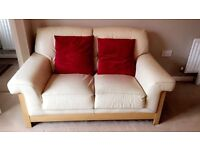 2 & 3 seater cream leather couch