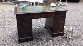 Antique Regency Style Leather Top Pedestal Writing Desk