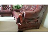Real Leather and solid wood sofas /suite