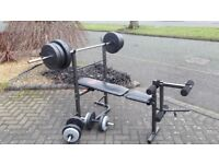 PRO POWER WEIGHTS BENCH & 55KG & BARS