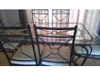 Glass Table & 6 Chairs with matching Coffee Table
