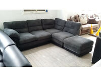 GRADED Grey Fabric Right Hand Corner Sofa Suite with Footstool Free Local Delivery