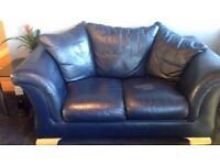 Leather Sofa: 2 seater, single seater and footrest