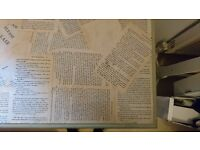 Beautiful vintage desk, covered with découpage book pages