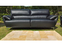 3 + 2 Seater Enzo Black Leather Designer Sofas