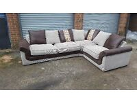 Comfy 1 month old large corner sofa. brown and beige fabric. can deliver