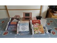 Pink Nintendo DS lite with 6 games