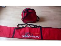 Salomon skis and ski boot bags in red, good condition