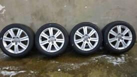 """17"""" AUDI A4 SE ALLOYS & TYRES 5X112 (A3 A5 A6 VW SEAT SKODA)"""