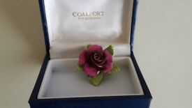 Coalport rose brooch complete with original box