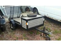 Good small 750kg unbraked ramptailgate transporter trailer with toolbox no vat