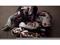Boys red and white inline skates size 6