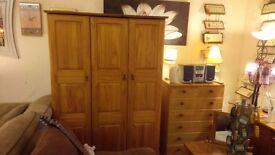 Lovely triple solid pine wardrobe £120 CHEAP DELIVERY Stalybridge SK15 2PT