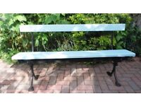 WOODEN & METAL GARDEN BENCH - USED BUT IN EXCELLENT CONDITION