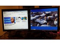 """Two Dell 17"""" pc monitors with cables"""
