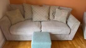 Grey three seater sofa and chair