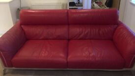 RED LEATHER CREAM SUEDE BACK THREE SEATER SOFA FOR SALE COLLECTION ONLY FROM BRENTWOOD